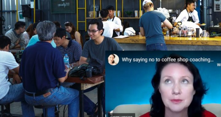 noisy, crowded coffee shop